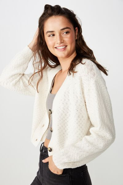 Cropped Button Up Cardi, GARDENIA