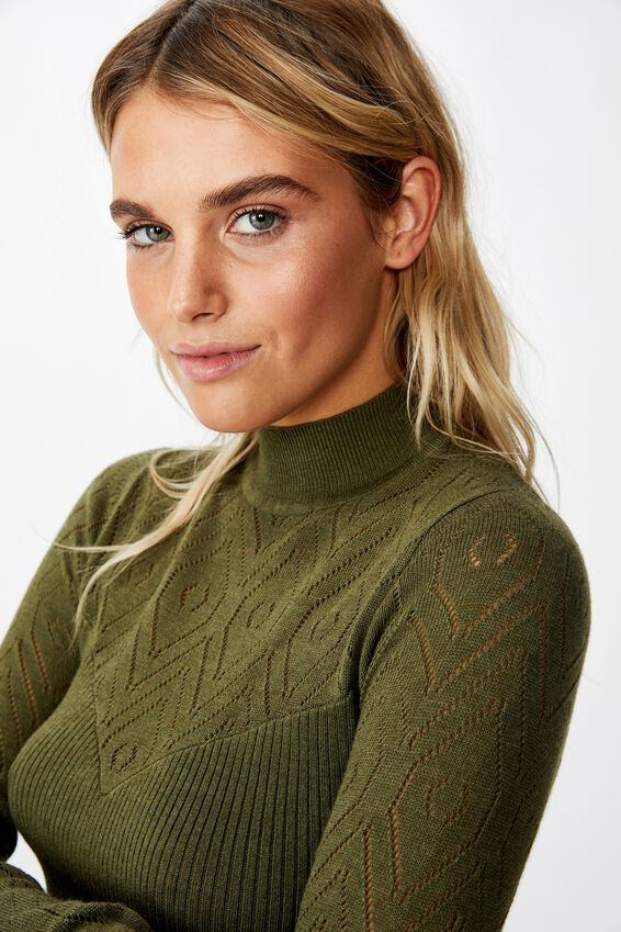 Pointelle Mock Neck, WINTER MOSS MARLE