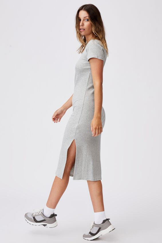 Essential Split Short Sleeve Midi Dress, GREY MARLE