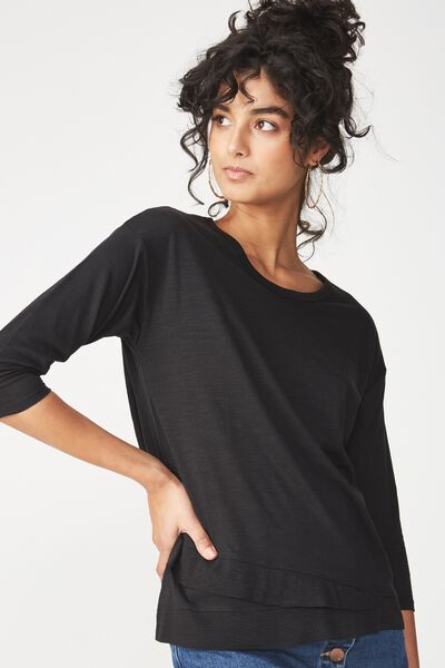 Willow Long Sleeve Top, BLACK