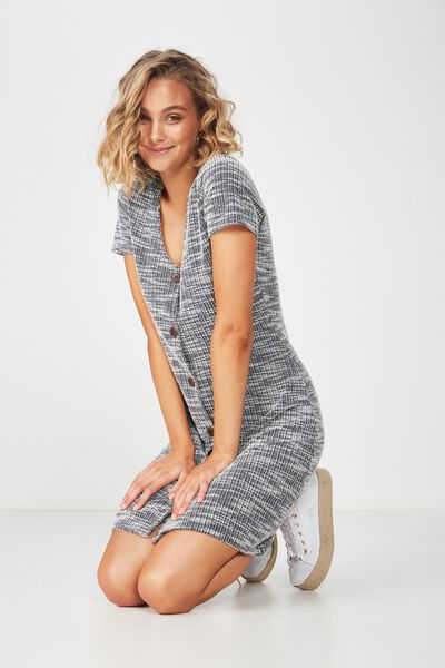 Marlow Button Through Mini Dress, MOONLIGHT TWIST