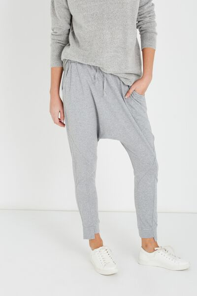 Natalie Relaxed Jersey Pant, GREY MARLE