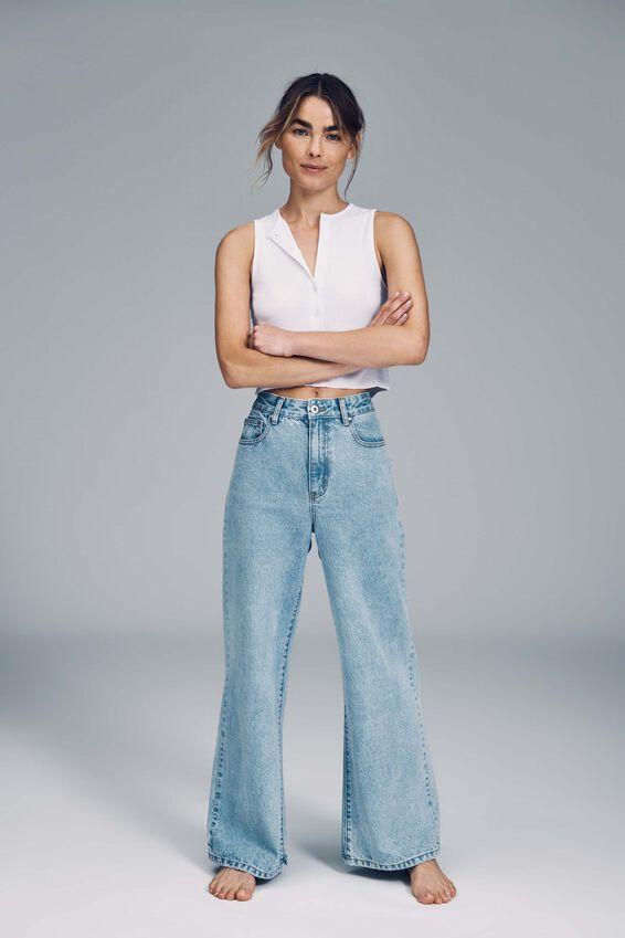 Petite Wide Leg Jean, ROADKNIGHT BLUE