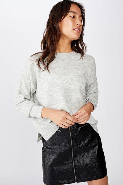 Erin Pu Mini Skirt, BLACK
