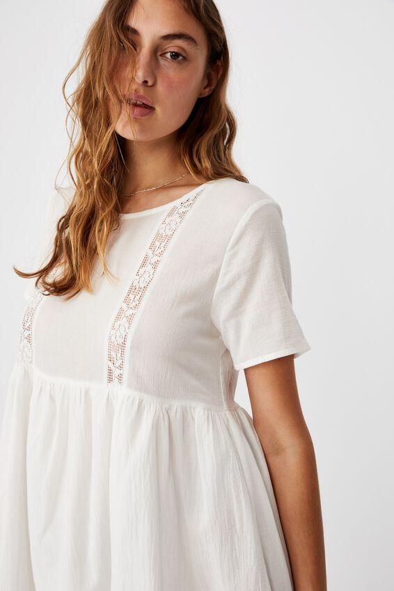 The Good Times Babydoll Lace Mini Dress, WHITE LACE