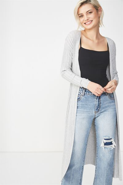 Quinnie Longline Cardi, LIGHT GREY MARLE