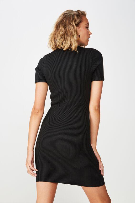 Lottie True Knit Mini Dress, BLACK
