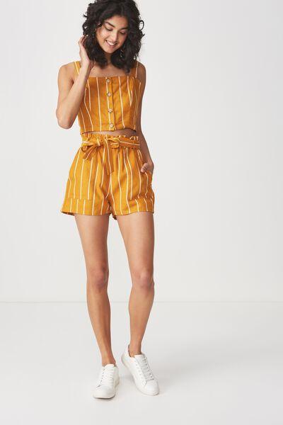 High Waist Belted Short, SAXXY STRIPE INCA GOLD