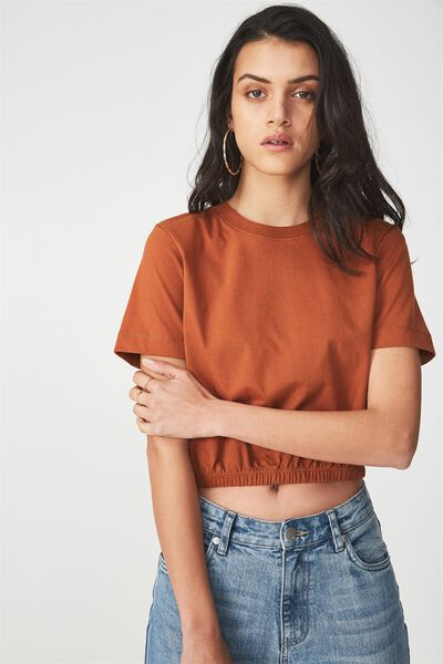 Ivy Short Sleeve Waisted Top, GINGERBREAD