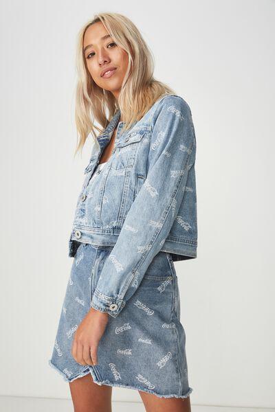 Girlfriend Fashion Denim Jacket, COCA COLA ALL OVER