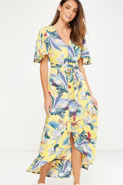 Woven Dallas Cape Sleeve Maxi Dress, IVANKA FLORAL SUNDRESS
