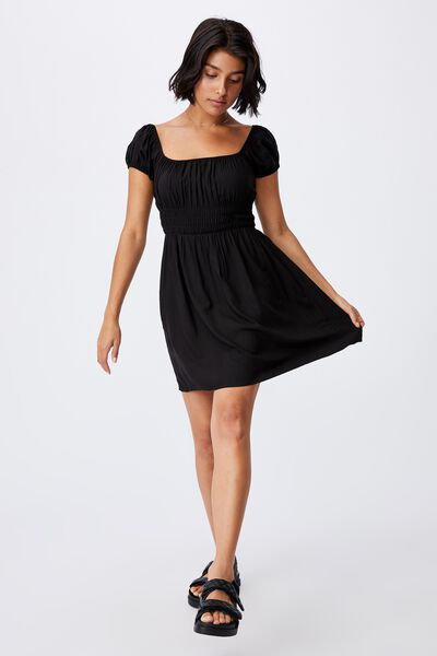 Woven Frankie Puff Sleeve Shirred Fit And Flare Mi, BLACK