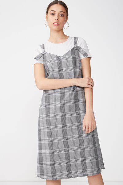 Woven Franco Check Midi Dress, MARTHA GREY MARLE