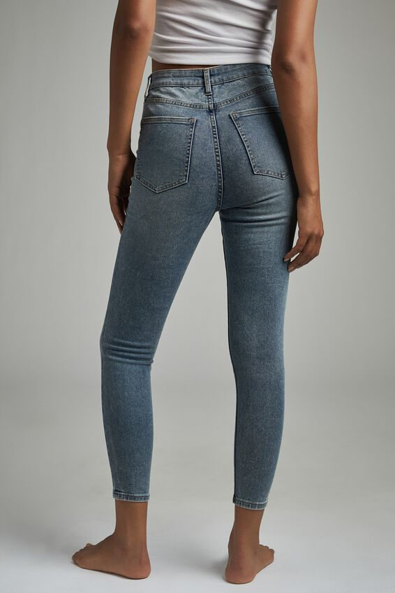 High Rise Cropped Skinny Jean, BRUNSWICK BLUE