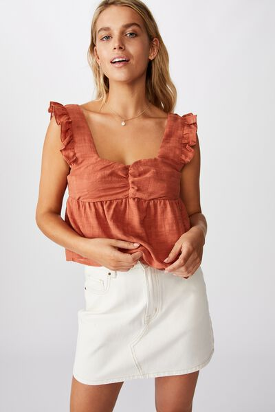 Babydoll Frill Sleeve Top, DUSTY BROWN