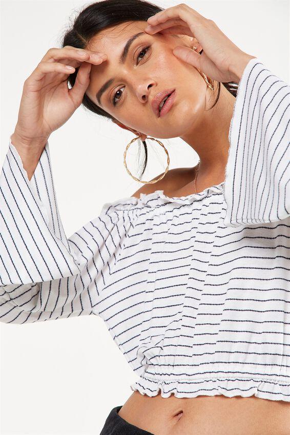 Sofia Off The Shoulder Ruffle Top, PADDINGTON STRIPE WHITE/MOONLIGHT