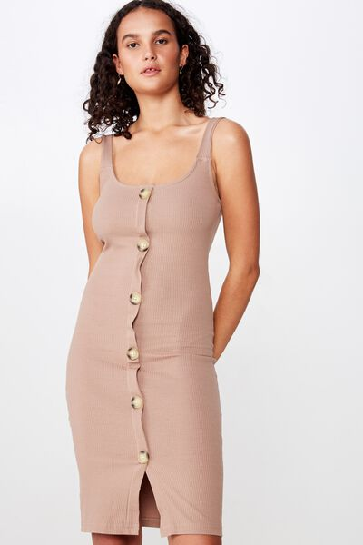 Lola Ribbed Button Through Midi Dress, BROWNIE