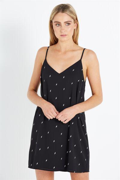 Woven Margot Slip Dress, LIGHTNING BOLT BLACK