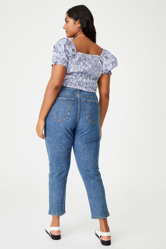 Curve Holly Woven Square Neck Top, DIANE FLORAL COASTAL BLUE