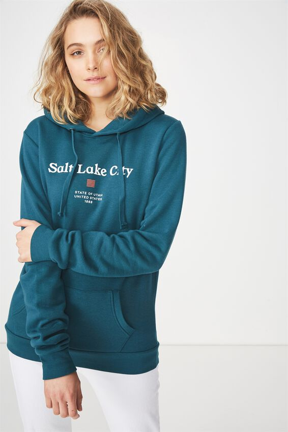 Delevingne Graphic Hoodie, SALT LAKE CITY/DEEP TEAL