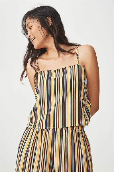 Pippa Chopped Cami, ASH STRIPE YELLOW