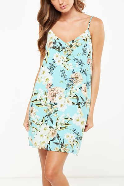 Woven Margot Slip Dress, DANI FLORAL AQUA SPLASH