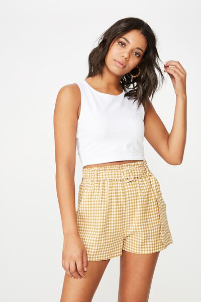 High Waist Short, ABBEY GINGHAM TAFFY BUCKLE