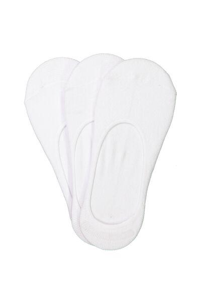 3Pk No Show Sock, WHITE