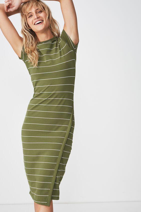 Anthea Short Sleeve Midi Dress, ABBY STRIPE CYPRESS