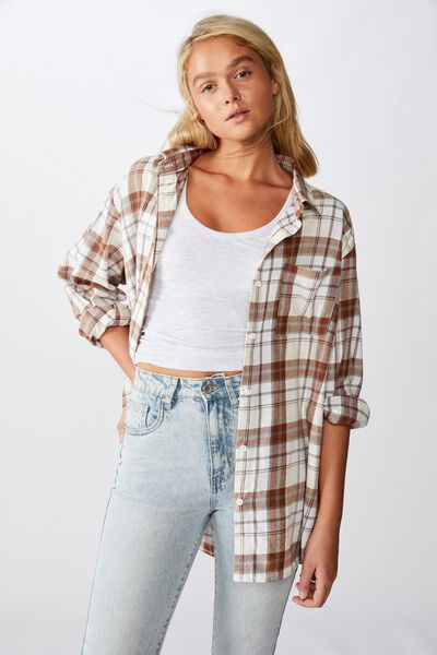 Relaxed Flannel Shirt, STACEY CHECK NEUTRAL GRAY