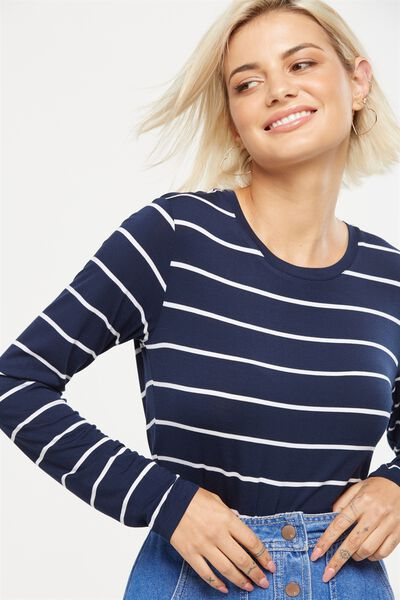 Baby Tee Long Sleeve, TRAY STRIPE MOONLIGHT/WHITE