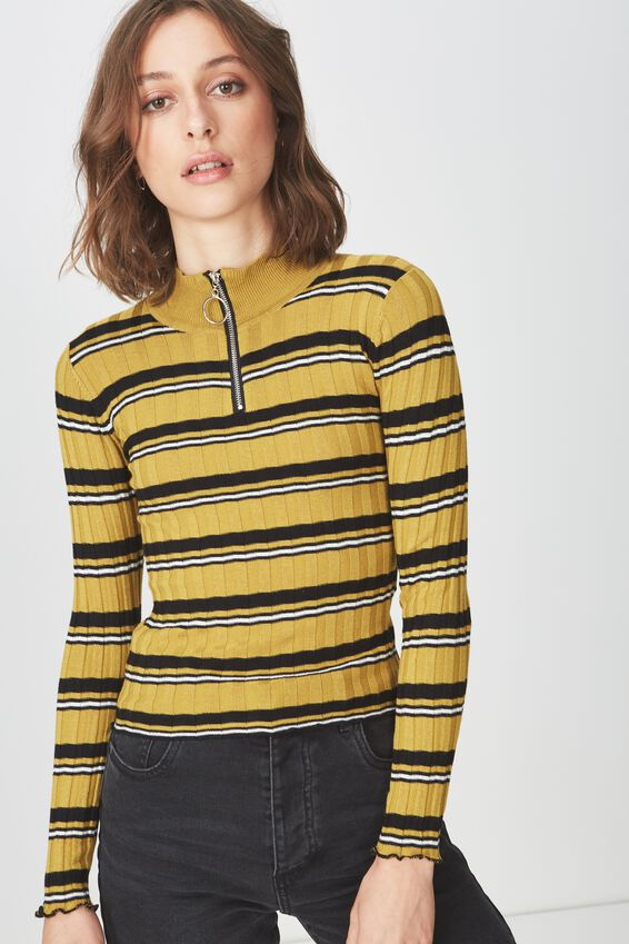Quinny Zip Neck Pullover, AMBER GREEN STRIPE