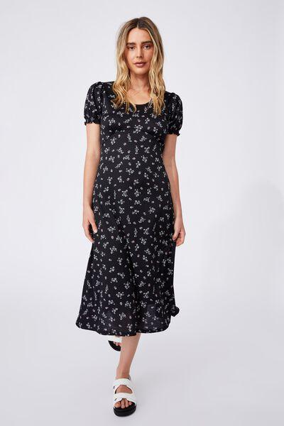 Elina Short Sleeve Midi Dress, RIDDLE DITSY BLACK