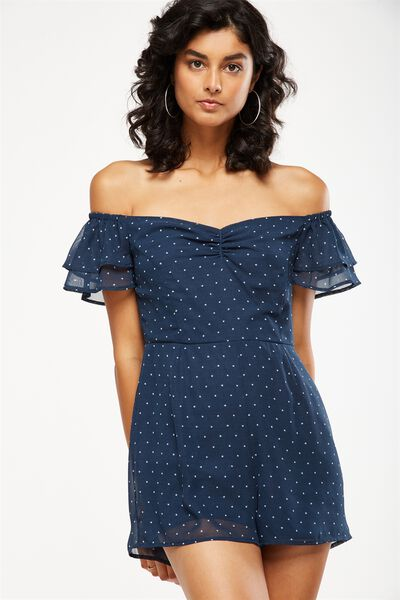 Woven Uma Off The Shoulder Playsuit, MINI STAR TOTAL ECLISPE