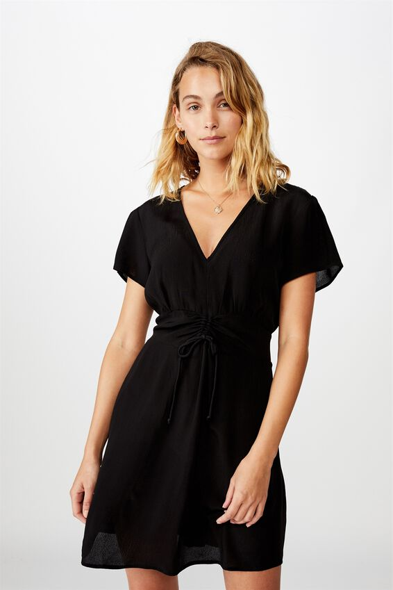 Woven Marissa Gathered Front Mini Dress, BLACK