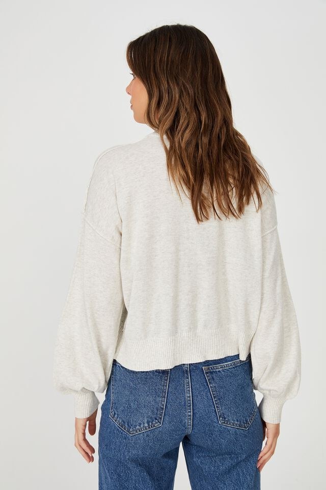 Cotton Mock Neck Pullover, GREY MARLE