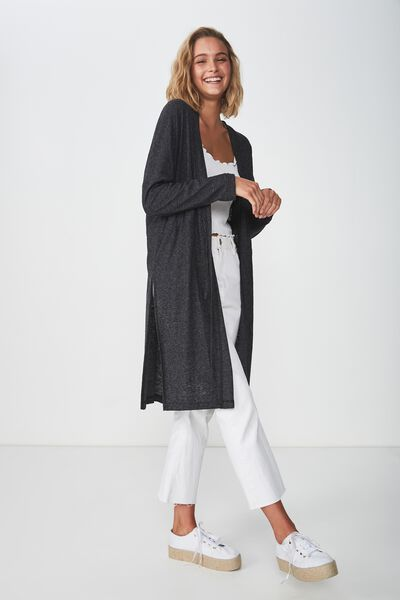 Mila Long Sleeve Cardigan, TRUE BLACK