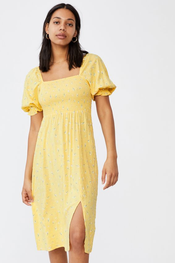 Woven Bonnie 3/4 Sleeve Midi Dress, RHEA DITSY CALI YELLOW