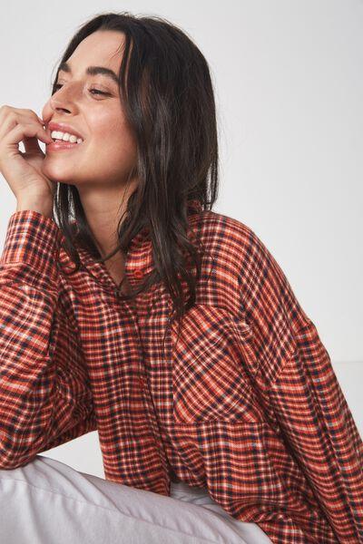 Casual Hudson Shirt, NYLA CHECK BURNT OCHRE