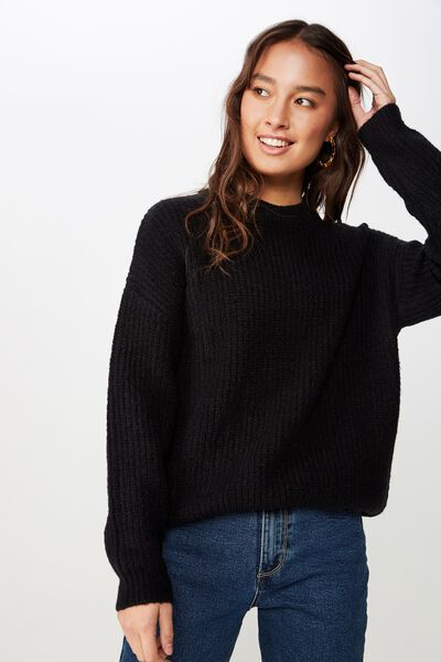 Millie Os Cosy Crew Neck Pullover, BLACK