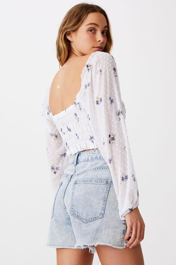 Milly Shirred Dobby Long Sleeve Blouse, ARIA FLORAL FLINTSTONE