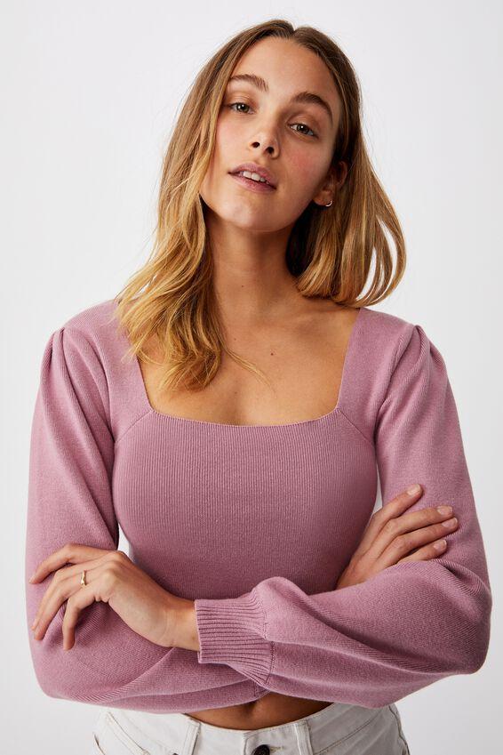The Knit Girl Puff Long Sleeve, BLUSH