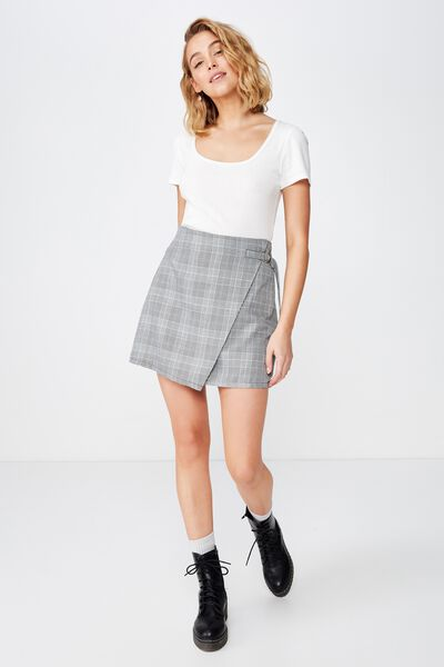 Woven Ivy Check Mini Skirt, BELLA CHECK BLACK