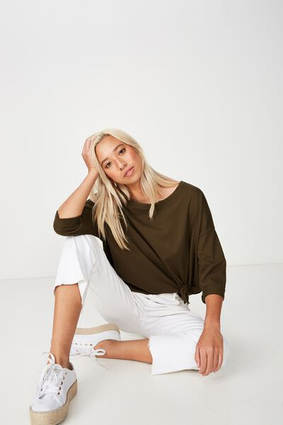 Aimee Oversized Long Sleeve Top, BEECH