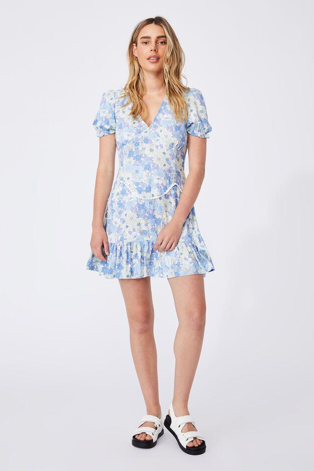 Woven Sam Short Sleeve Mini Dress, QUINN FLORAL AUTHENTIC BLUE