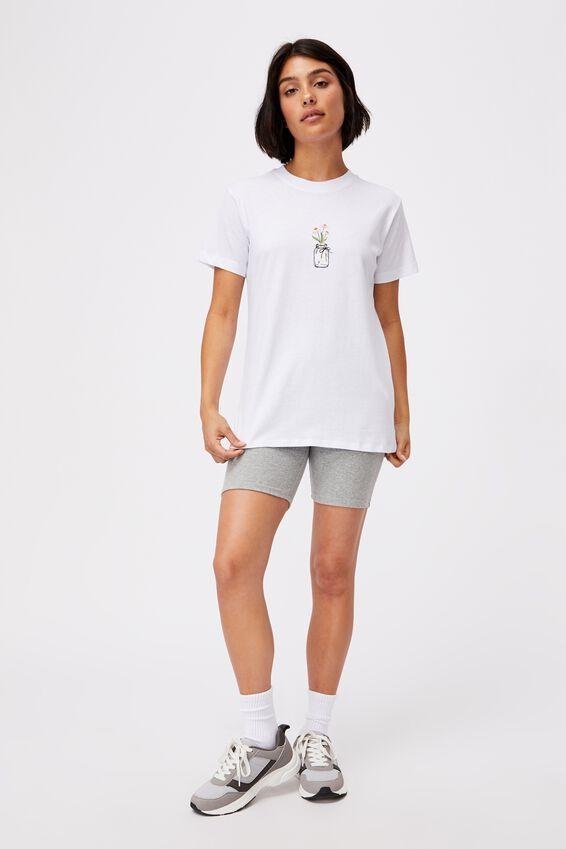 Classic Arts T Shirt, JAR OF FLOWERS/WHITE