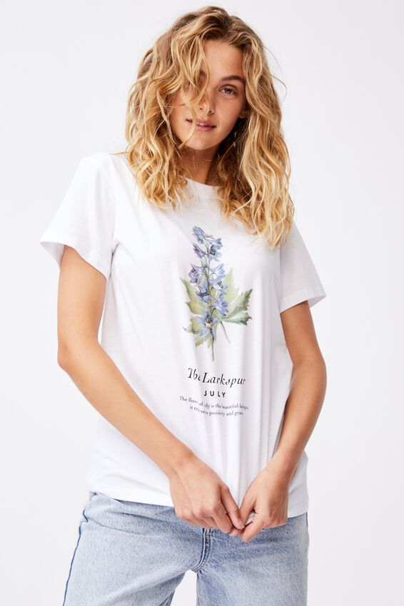 Classic Birthday Flower Graphic T Shirt, JULY BIRTHFLOWER/WHITE