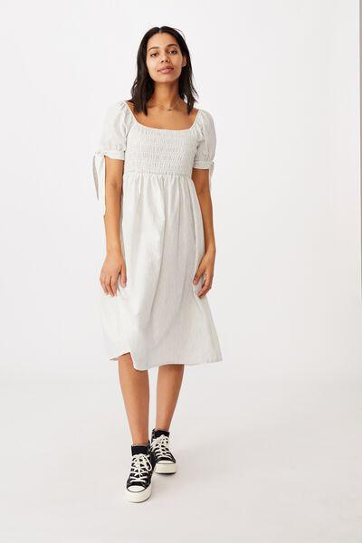 Woven Cecile Short Sleeve Midi Dress, CHALK WHITE/NAVY STRIPE