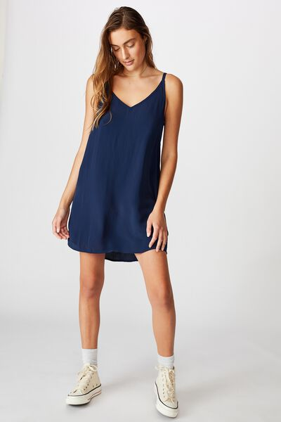 Woven Mary Strappy Mini Dress, MEDIEVAL BLUE