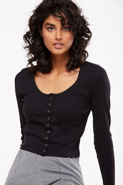 Matilda Cropped Henley Long Sleeve Top, BLACK